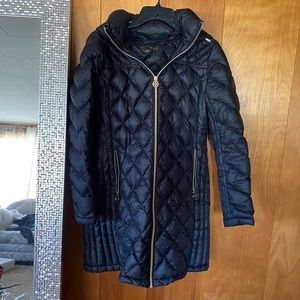 Michael Kors | Navy & Gold Long Down Jacket Sz M